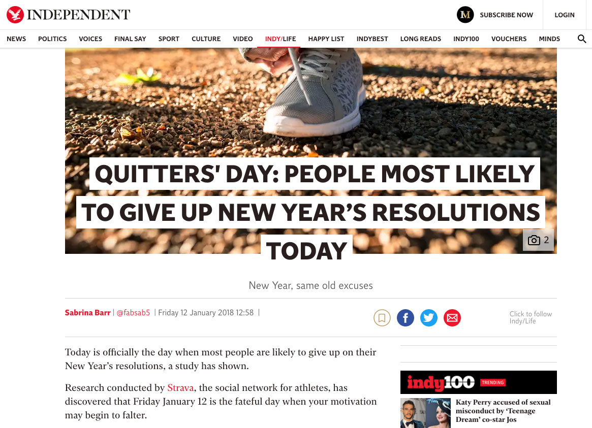 Strava Quitters' Day Article on Independent.co.uk